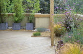 Roof terrace, decking, gravel, Verbena bonariensis, Anemanthele lessoniana, bamboo in zinc containers