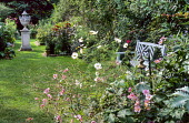 Blue painted bench in town garden, lawn with stone urn, brick-edged borders, Cosmos bipinnatus 'Purity', Anemone x hybrida
