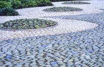 Contemporary urban courtyard, pebble mosaic, Echeveria elegans