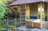 Japanese tea house, bamboo fence and gate
