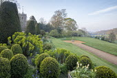 Clipped Buxus sempervirens, euphorbia, path leading to stone urn on plinth, view across valley, church
