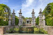 Formal garden, stone piers, waterfall