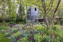 Grain silo repurposed as a design studio office, Echium russicum, Linum perenne,  Euphorbia seguieriana subsp. niciciana, Zelkova serrata