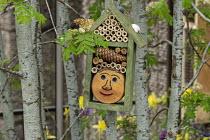 Insect 'hotel' wildlife habitat, bamboo stems, homemade