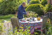 Teapot, cups and cake on table, vase of cut flowers, afternoon tea, tablecloth, Centranthus ruber, Buxus sempervirens, man arranging flowers, dog on lawn
