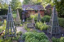 Wooden bench in herb garden, wooden obelisks, Salvia officinalis, rosemary, chives