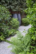 Side passage, gravel path, Hebe parviflora var. angustifolia, Pittosporum tobira, Trachelospermum jasminoides climbing on house wall, Dryopteris filix-mas, Elaeagnus x ebbingei