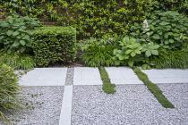 Limestone path across gravel terrace, clipped Taxus baccata cube, Thymus serpyllum rills, Hydrangea arborescens 'Annabelle', Hakonechloa macra, Rodgersia aesculifolia, Trachelospermum jasminoides clim...