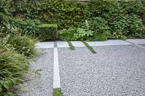 Stone path across gravel terrace, clipped Taxus baccata cube, Thymus serpyllum rills, Libertia grandiflora, Hydrangea arborescens 'Annabelle', Hakonechloa macra, Rodgersia aesculifolia, Trachelospermu...