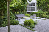 Contemporary chairs and table on stone patio, white gravel, clipped yew hedges, Thymus serpyllum rills, pittosporum