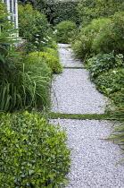 Side passage, gravel path, Libertia grandiflora, Pittosporum tobira 'Nanum', euphorbia, Hebe parviflora var. angustifolia, Allium nigrum