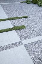 Limestone path across gravel terrace, Thymus serpyllum rills
