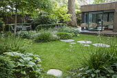 Stepping stone path across lawn, Hakonechloa macra, Libertia grandiflora, Acer palmatum, chairs on terrace by contemporary pavilion, dining table and chairs, Rodgersia podophylla 'Braunlaub'