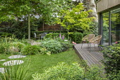 Contemporary chairs on decking by pavilion, stepping stones across lawn, table and chairs, Digitalis purpurea, Hakonechloa macra, Helleborus argutifolius, Libertia grandiflora, Acer palmatum