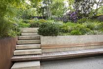 Steps leading up terraced sloping garden, built-in wooden bench, Pinus mugo, Euphorbia x martini, Erigeron karvinskianus, rhododendrons