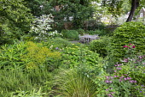 Euphorbia x pasteurii, Rosmarinus officinalis, astrantia, Hydrangea arborescens 'Annabelle', Rosa 'Munstead Wood', table and chairs on patio, Cornus kousa