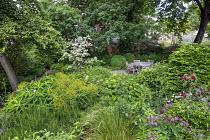 Euphorbia x pasteurii, Rosmarinus officinalis, astrantia, Hydrangea arborescens 'Annabelle', table and chairs on patio, Cornus kousa