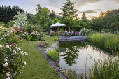 Table, chairs and umbrella on decking by natural swimming pond, Rosa 'Märchenzauber', Rosa 'Chapeau de Mireille', Rosa 'Rhapsody in Blue', Rosa 'Wilderode', Rosa 'Princesse Charlène de Monaco' and R...