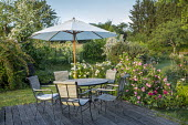 Table, chairs and umbrella on decking, roses