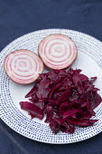 Beetroot, apple and rosemary on plate
