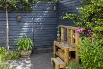 Wooden play kitchen on patio, dark painted fence, penstemon, Trachelospermum jasminoides, hidden gate in dark painted fence