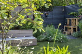 Wooden play kitchen on patio, dark painted fence, built-in recycled timber bench, Amelanchier lamarckii, hidden gate in dark painted fence, astroturf lawn