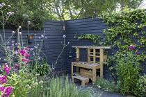 Wooden play kitchen on patio, dark painted fence, penstemon, Trachelospermum jasminoides, hidden gate in dark painted fence, Verbena bonariensis