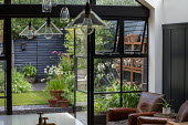 View from inside house to contemporary family courtyard garden outside, black painted fence, log storage, alliums in container, agapanthus