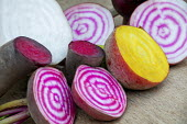 Colourful harvested beetroots cut in half
