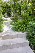 Stone path and steps leading to pool and fountain, Hakonechloa macra, table and chairs under rose-covered pergola