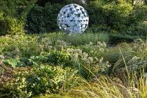 Luzula nivea, Anemanthele lessoniana, Leaf Sphere sculpture by Paul Richardson