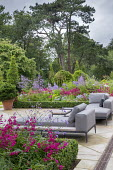 Daybed and sofas on stone terrace, penstemon and Verbena bonariensis in box-edged borders