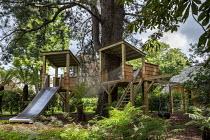 Children's play area, treehouse, slide