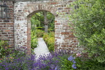 Archway in brick wall, lavender, stone path, hydrangea, Aruncus 'Misty Lace', Olea europaea