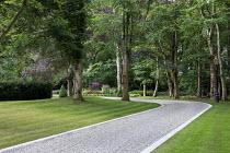 Gravel driveway, stone edging
