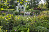 Buddleja, agapanthus, view to white metal bench and trellis archway