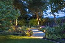 Lit gravel path, ferns, hostas, astilbe, geranium, pulmonaria