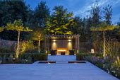 Umbrella trained pleached Platanus × acerifolia trees over terrace, clipped Buxus sempervirens hedge, Verbena bonariensis, stepping stones over pond, stone paving, grey painted pergola, outdoor firep...