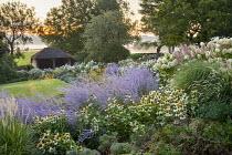 Perovskia 'Blue Spire', Echinacea purpurea 'White Swan', Hydrangea paniculata 'Little Lime', Rosa 'Iceberg', Pennisetum 'Fairy Tails'