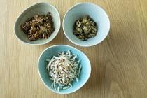 Bowls with Spicy Sea kale, Celeriac, apple, lemon and mustard seed, Sea kale, chicory and lemon