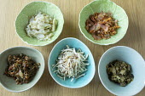 Bowls with Kohl rabi, celery seed and lovage, Spicy Sea kale, celeriac, apple, lemon and mustard seed, Sea kale, chicory and lemon