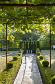 Bowling allée enclosed by topiarised box hedges, yew topiary bowling pins, grape vine climbing over metal pergola