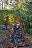 Cor-Ten steel Christmas tree log storage