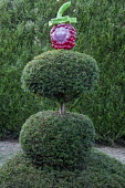 Painted papier-mâché ornament on yew topiary