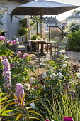 Table and chairs with cushions on decking under umbrella, Rosa 'Gertrude Jekyll', Rosa 'Tranquility', delphiniums