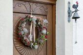 Foraged Christmas door wreath hanging on wooden door, clematis and teasel seedheads, rosehips, ivy, woven willow, door bell