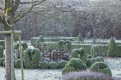 Metal bird and fence ornaments in border, clipped Buxus sempervirens balls and heart topiary
