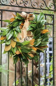 Magnolia wreath on gate