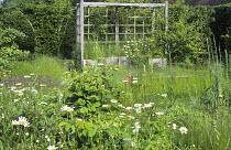 Cloister garden, trellis arbour