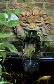 Terracotta mask wall fountain, fish pond
